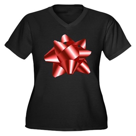 Christmas Red Bow Women's Plus Size V-Neck Dark T-