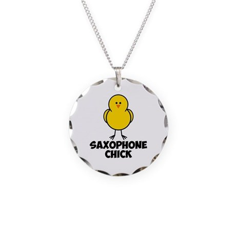 Saxophone Chick Necklace Circle Charm