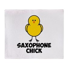 Saxophone Chick Throw Blanket