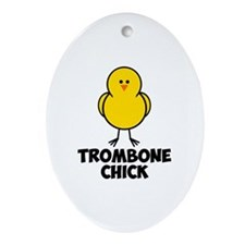 Trombone Chick Ornament (Oval)