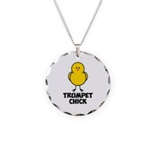 Trumpet Chick Necklace Circle Charm