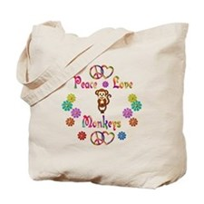 Peace Love Monkeys Tote Bag