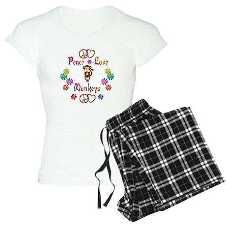 Peace Love Monkeys Women's Light Pajamas
