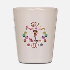 Peace Love Monkeys Shot Glass