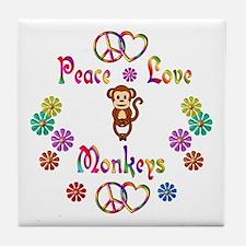 Peace Love Monkeys Tile Coaster