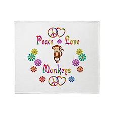 Peace Love Monkeys Throw Blanket