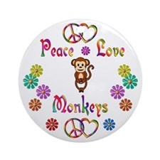 Peace Love Monkeys Ornament (Round)