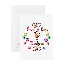 Peace Love Monkeys Greeting Card