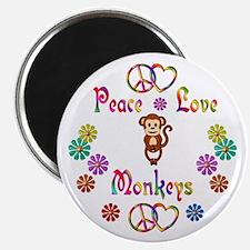 """Peace Love Monkeys 2.25"""" Magnet (10 pack)"""