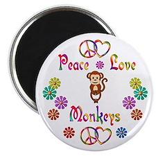 """Peace Love Monkeys 2.25"""" Magnet (100 pack)"""