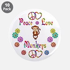 "Peace Love Monkeys 3.5"" Button (10 pack)"