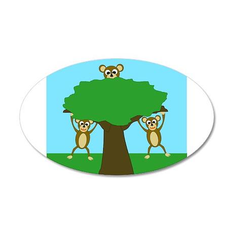 Monkeys Design 38.5 x 24.5 Oval Wall Peel