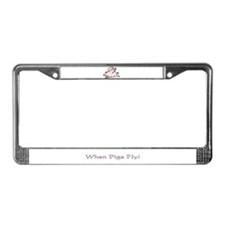 Funny Flying pigs License Plate Frame
