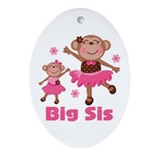 Big Sister Monkey Ornament (Oval)