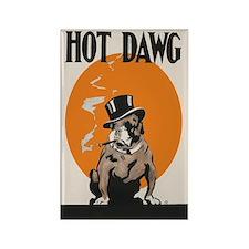 Hot Dawg Vintage Bulldog Rectangle Magnet