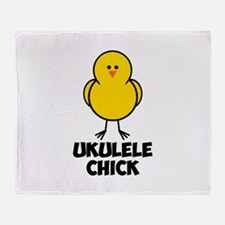 Ukulele Chick Throw Blanket
