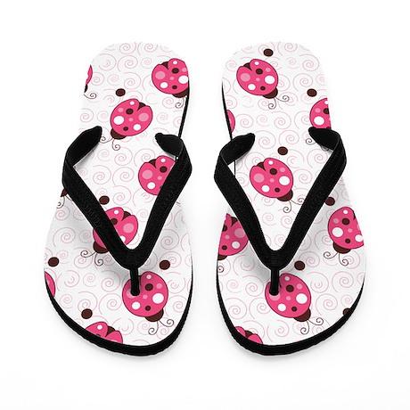 Ladybug Flip Flops Flip Flops (White)