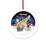 Xmas Sunrise - Two Guinea Pigs (round ornament))