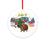 Xmas Music (P) - Brown Guinea Pig Ornament (Round)