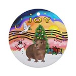 XmasMusic2 / Brown Guinea Pig Ornament (Round)