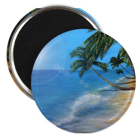 """Tropical hawaji beach holiday 2.25"""" Magnet (100 pa"""
