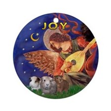 Angel Singing to 3 Guinea Pigs Ornament (Round)