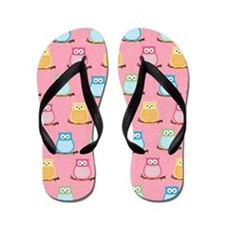 Cute Colorful Owl Flip Flops - Light Pink