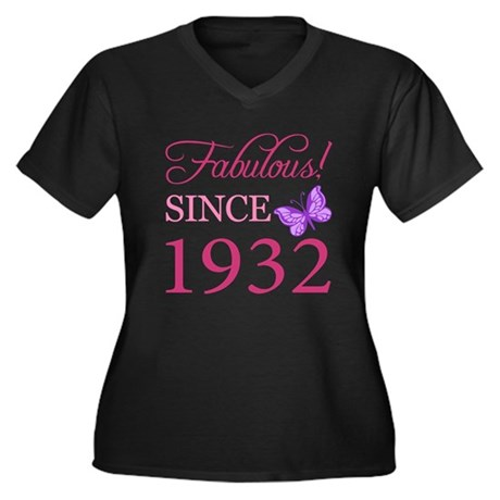 Fabulous Since 1932 Women's Plus Size V-Neck Dark