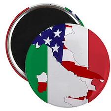 Italian Flag, American boot Magnet