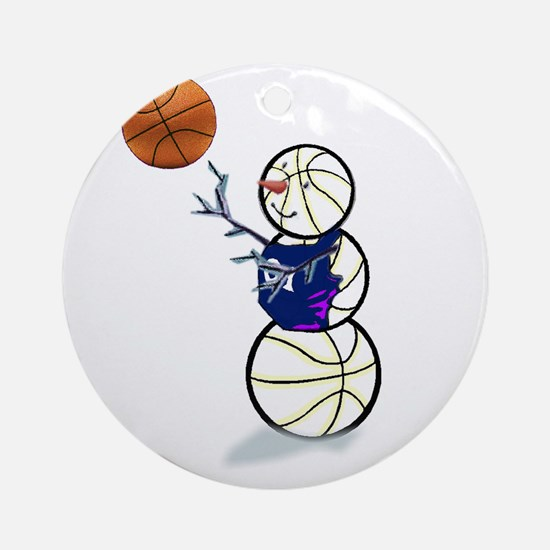 Basketball Snowman Ornament (Round)
