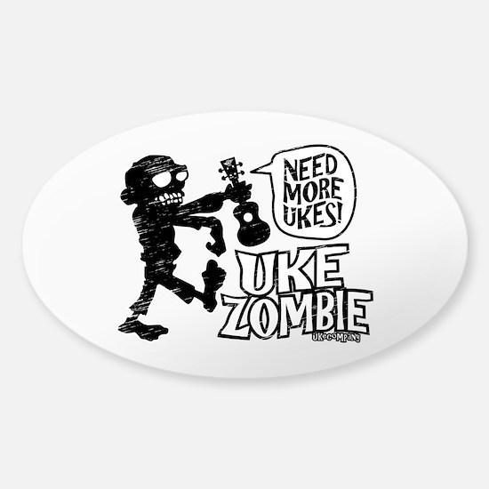 Uke Zombie Sticker (Oval)