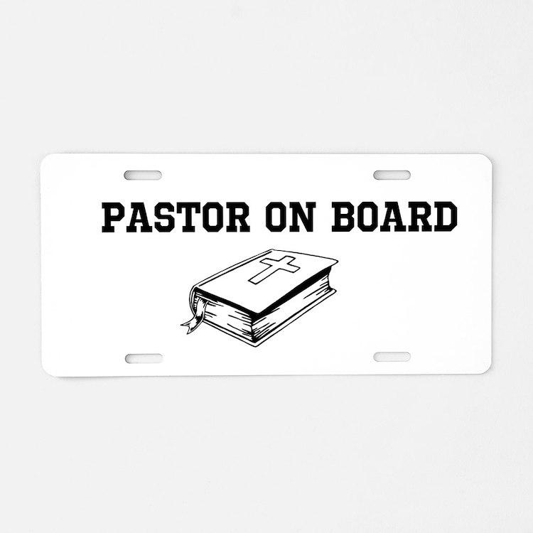 Pastor On Board Aluminum License Plate