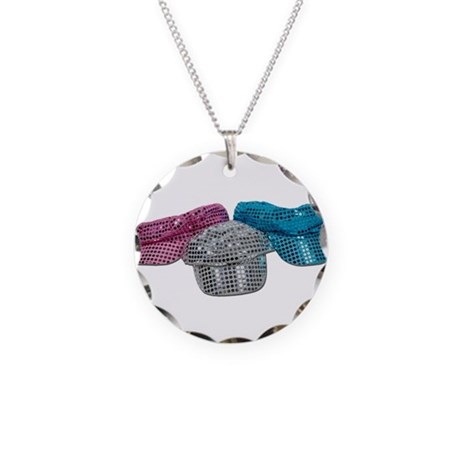 Red White Blue Disco Hats Necklace Circle Charm
