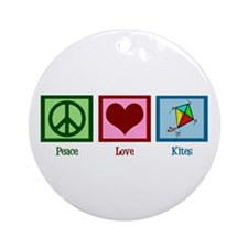 Peace Love Kites Ornament (Round)