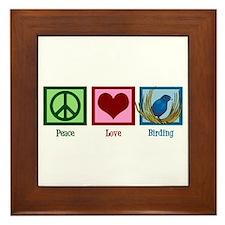Peace Love Birding Framed Tile