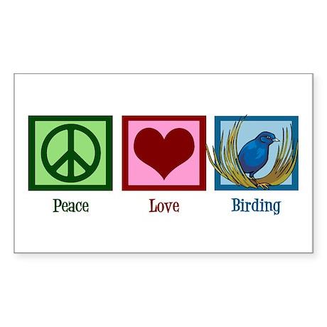 Peace Love Birding Sticker (Rectangle)