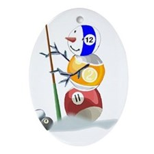 Billiards Cue Ball Snowman Ornament (Oval)
