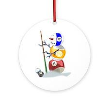 Billiards Cue Ball Snowman Ornament (Round)