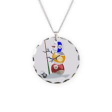Billiards Cue Ball Snowman Necklace