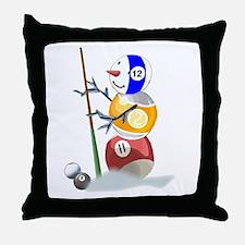 Billiards Cue Ball Snowman Throw Pillow