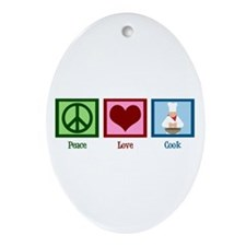 Peace Love Cook Ornament (Oval)