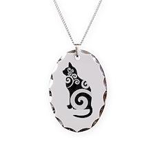 Swirly Cat Black Necklace