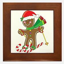 Gingerbread Skier Framed Tile