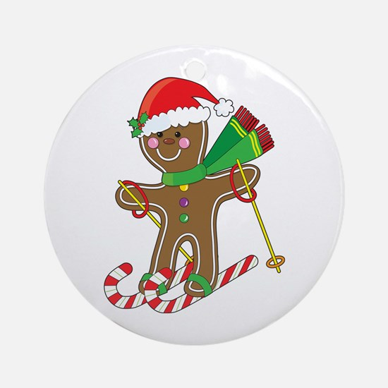 Gingerbread Skier Ornament (Round)