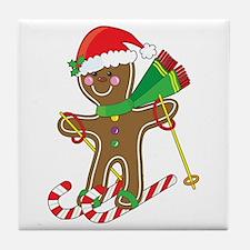 Gingerbread Skier Tile Coaster