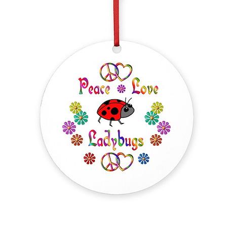 Peace Love Ladybugs Ornament (Round)