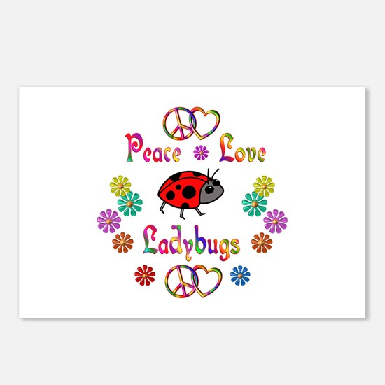 Peace Love Ladybugs Postcards (Package of 8)