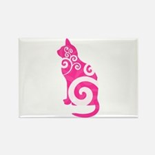 Swirly Cat Pink Rectangle Magnet (10 pack)