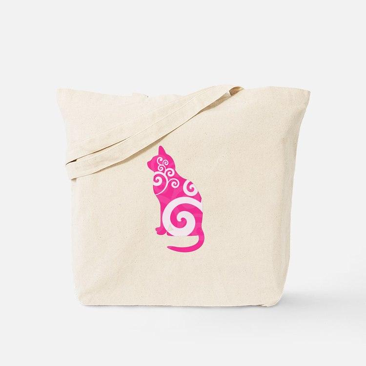Swirly Cat Pink Tote Bag