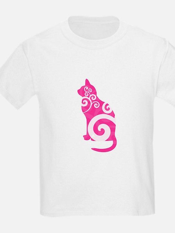 Swirly Cat Pink T-Shirt